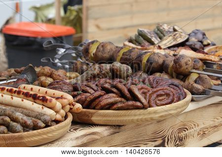 Sausages and meat on the counter. Food