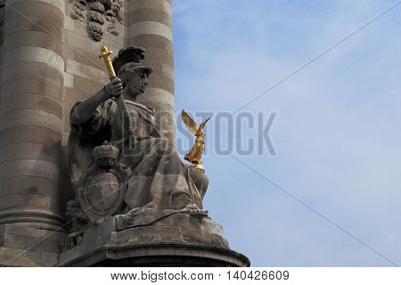 PARIS, FRANCE - MAY 12m 2015: This is one of the sculptural decorations near the bridge of Alexander III.