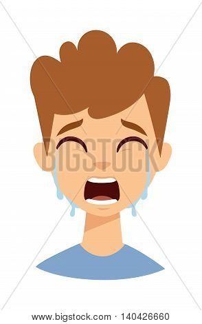 Crying kid boy isolated on white. Crying kid boy vector and cute crying boy. Crying boy expression cry portrait and crying boy emotion face. Portrait emotion kid boy face with tears.