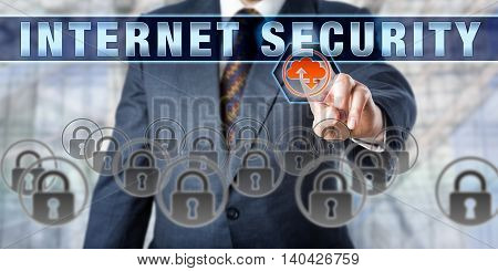 Business manager touching INTERNET SECURITY on an interactive control screen. Information technology concept involving computer and network security browser security encryption and data transfer.