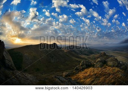 mountain landscape with beautiful sky in Dobrogea, Romania