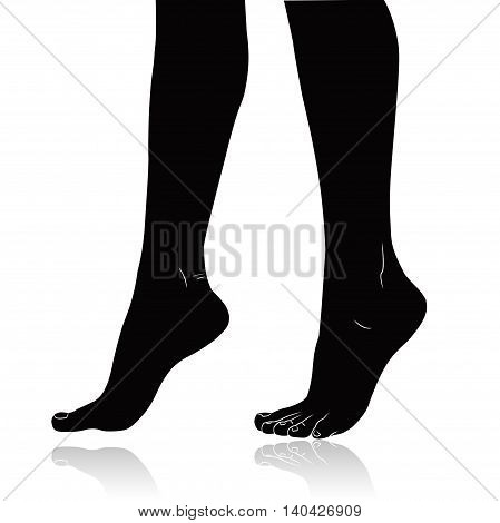 Woman feet black silhouette isolated on white