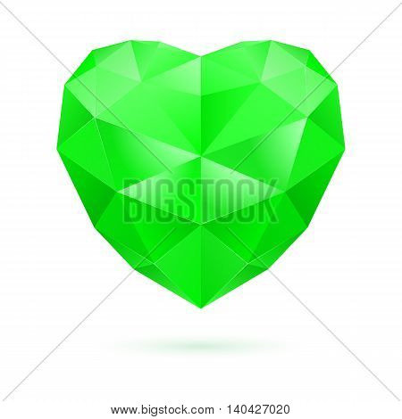 Green polygonal heart on white background. Emerald gem