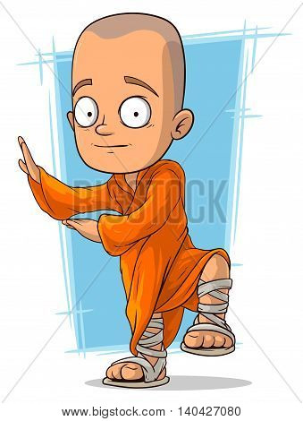 A vector illustration of cartoon young buddhist monk