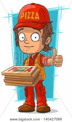 A vector illustration of cartoon young pizza delivery man