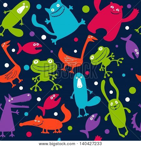 seamless pattern with monsters. abstract vector illustration
