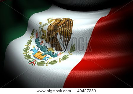 3D illustration of Flag of Mexico in the dark with brightness spot