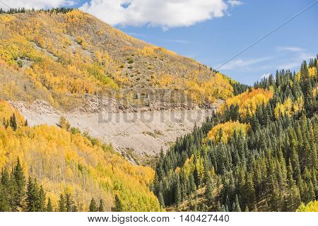 View on San Juan National Forest during golden fall with road in Colorado