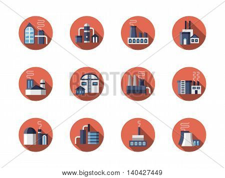 Industrial buildings - factory, power plant, refineries storages and other facilities. Industry theme. Environment pollution concept. Round red flat style vector icons collection.