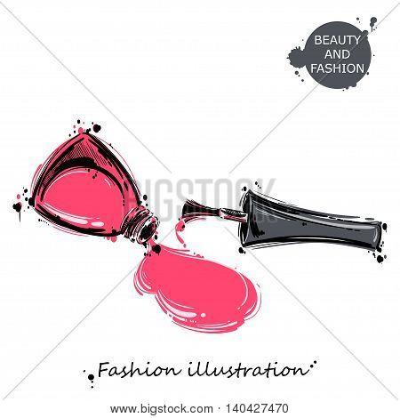 Vector illustration of nail polish. Fashion illustration. Beauty and fashion.