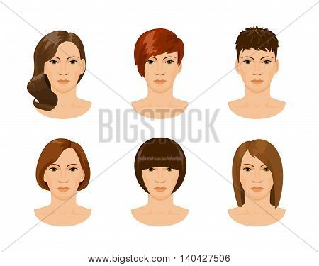young pretty female face with different hairstyles