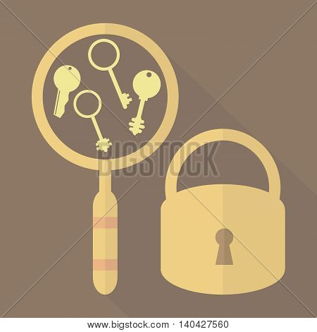 Search golden key to open the lock