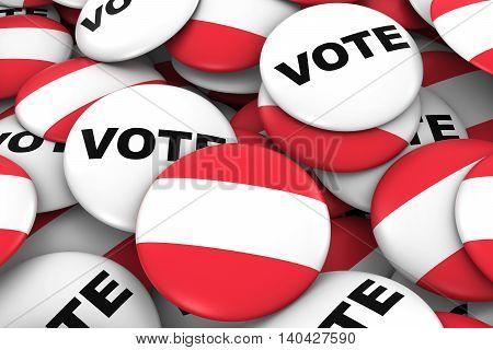 Austria Elections Concept - Austrian Flag And Vote Badges 3D Illustration
