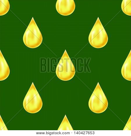 Yellow Drops Isolated on Yellow Background. Seamless Pattern