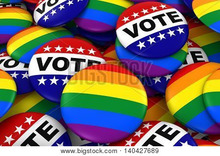 Vote For Gay Rights Concept - Gay Pride And Vote Badges 3D Illustration