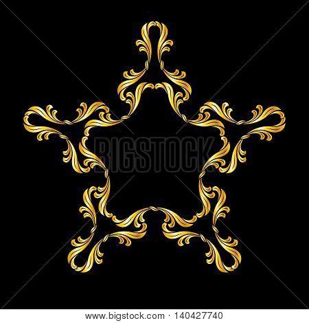 Ornate floral pattern in golden shades over black