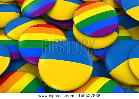 Ukraine Gay Rights Concept - Ukrainian Flag And Gay Pride Badges 3D Illustration