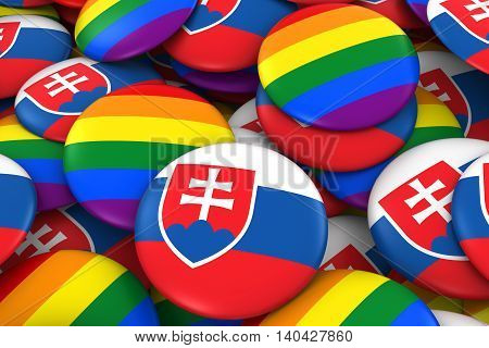 Slovakia Gay Rights Concept - Slovakian Flag And Gay Pride Badges 3D Illustration