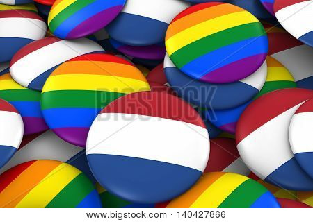 Netherlands Gay Rights Concept - Dutch Flag And Gay Pride Badges 3D Illustration