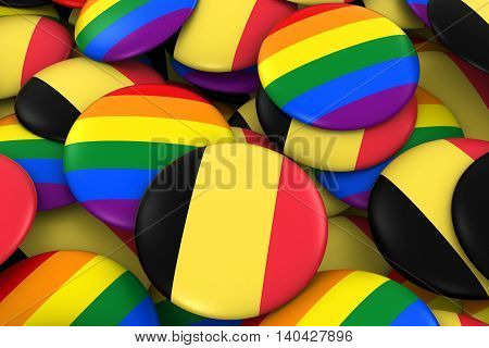 Belgium Gay Rights Concept - Belgian Flag And Gay Pride Badges 3D Illustration