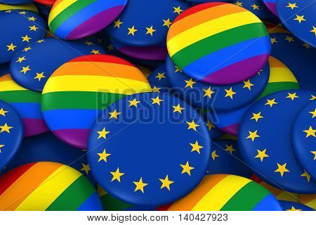 European Gay Rights Concept - Eu Flag And Gay Pride Badges 3D Illustration