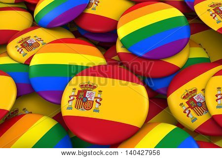 Spain Gay Rights Concept - Spanish Flag And Gay Pride Badges 3D Illustration