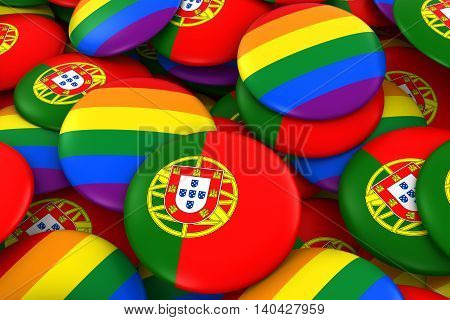 Portugal Gay Rights Concept - Portuguese Flag And Gay Pride Badges 3D Illustration