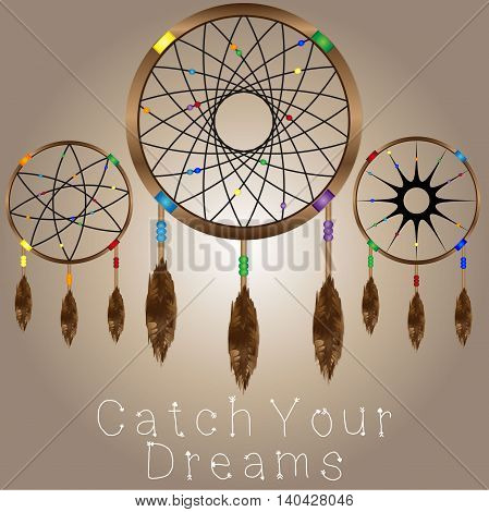 Three dreamcatchers with light brown gradient background. Dreamcatchers have colored beads and brown feathers. Catch your dreams signage placed on the bottom.