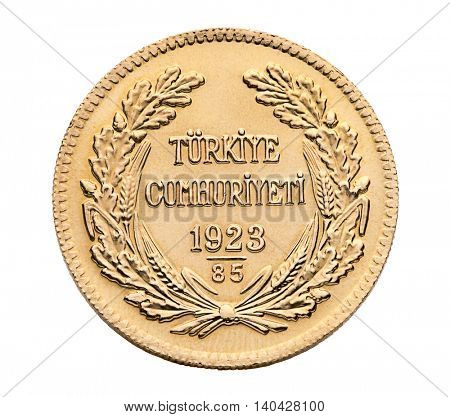 Turkish gold coin back called Besli Ata isolated on white background.