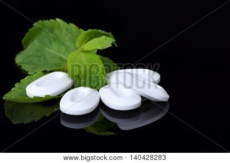 Fresh mint leaves with mints, isolated on black
