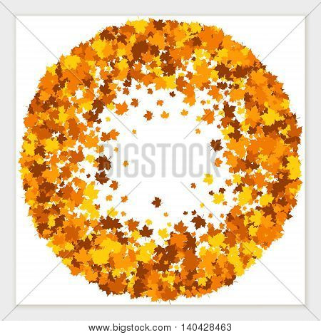 Vector wreath of scattered maple leaves in autumn colors. Isolated.