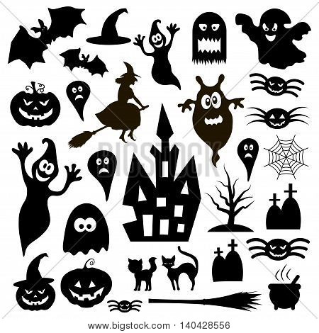 Halloween black icon collection - vector illustration