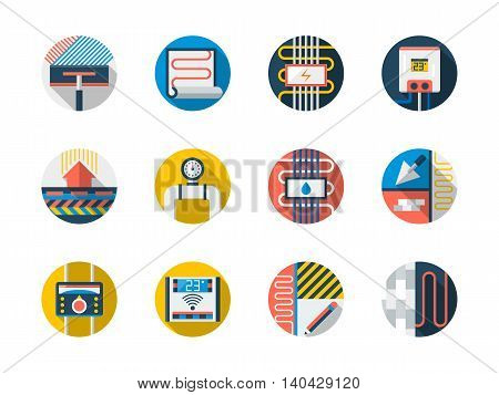 Warm floor technology for house. Equipment and appliances for floor heating. Water boiler, pipeline, temperature controller and others. Round flat color style vector icons collection.