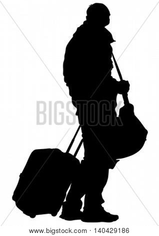 Man with travel big suitcases on white background