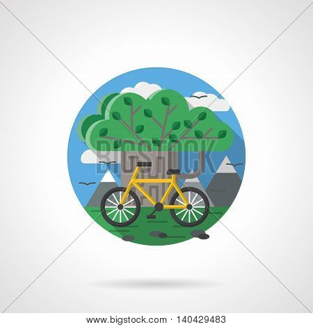 Abstract green tree with yellow bicycle and mountains landscape. Ecology driving. Active leisure out of town. Means of transport theme. Round detailed flat color style vector icon.