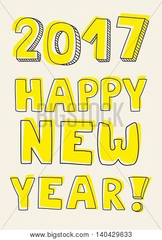 Happy New Year 2017 hand drawn yellow vector sign on pastel background