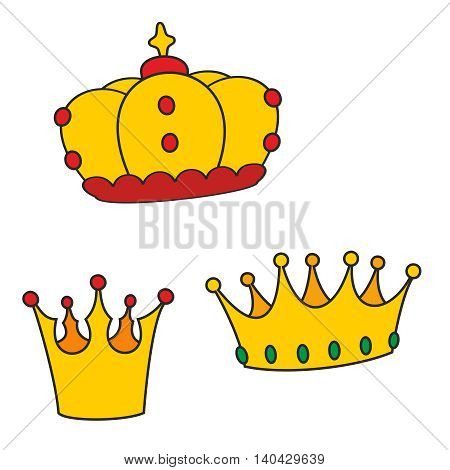 Golden crown vector set isolated on white background
