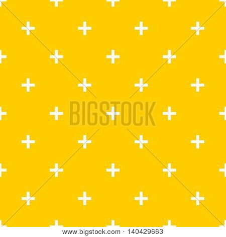 Tile cross plus yellow and white vector pattern