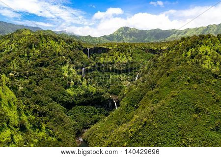 Aerial Landscape View Of Waterfalls And Streams, Kauai