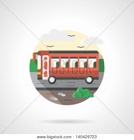 A side view of a red bus on road. Intercity and city transport, passenger transportation concept. Round detailed flat color style vector icon.