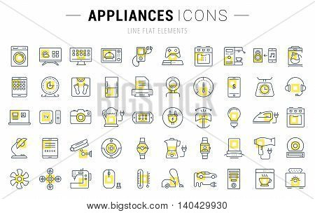 Set vector line icons in flat design appliance smart devices and gadgets modern web icons and symbols with elements for mobile concepts and web apps. Collection modern infographic logo and pictogram