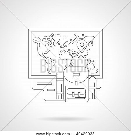 Travel and trip concept. Abstract illustration of backpack and world map with mark. Ready to adventures. Detailed flat line vector icon. Web design element.