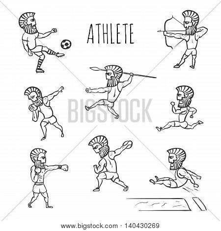Athlete man set hand drawn vector illustration
