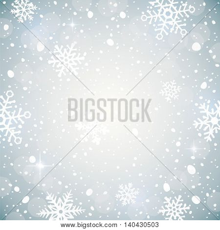Winter background with snowflakes. Decorative Christmas background. Vector illustration of falling snow