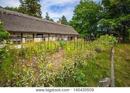 Old fisherman's houses in Kluki village Poland.