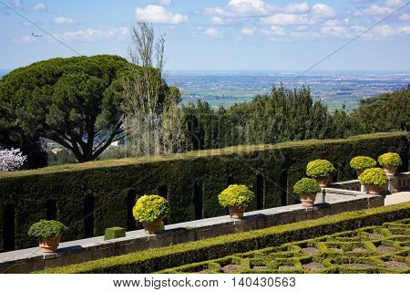 The view from Pope's garden in Castel Gandolfo toward Rome and the sea.