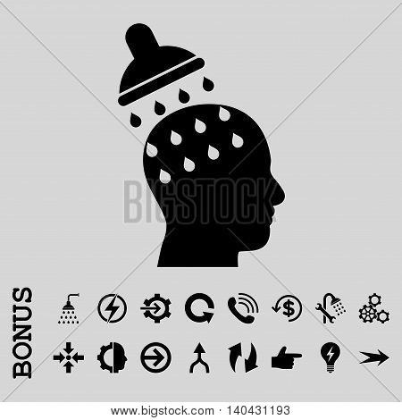 Brain Washing glyph icon. Image style is a flat iconic symbol, black color, light gray background.