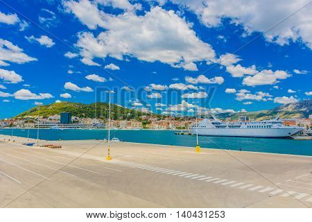 View at sea port in city of Split, touristic destination on Adriatic sea, Croatia summertime.