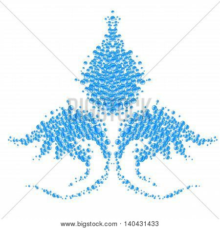 Abstract shape made of blue water bubbles on white background