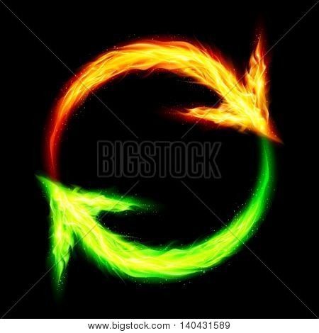 Orange and green fire circular arrows on black background